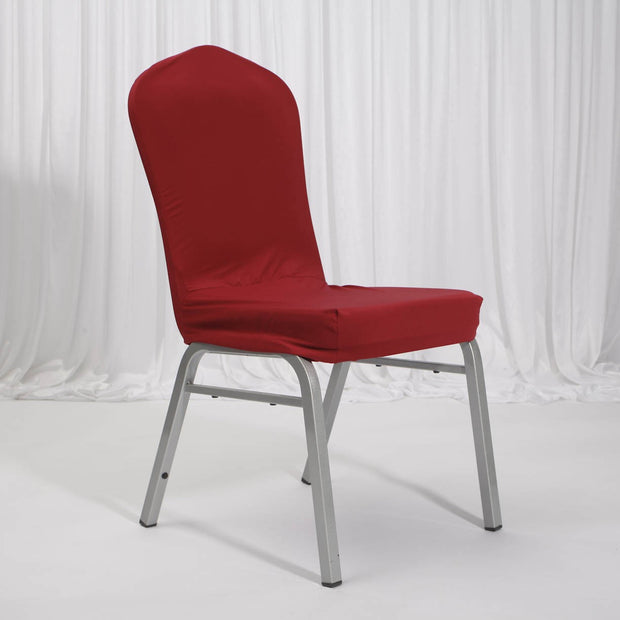 Lycra Chair Covers (Toppers) - Wine Red With On Banquet Chair
