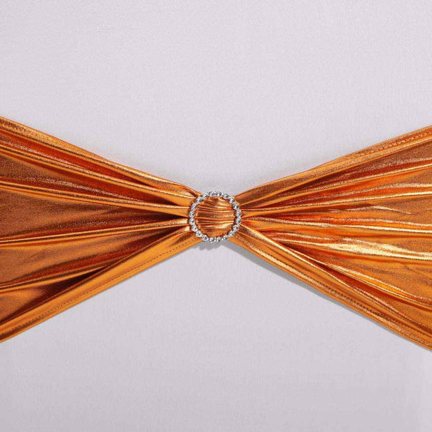 Clearance Lycra Chair Bands - Metallic Orange Autumn Fire