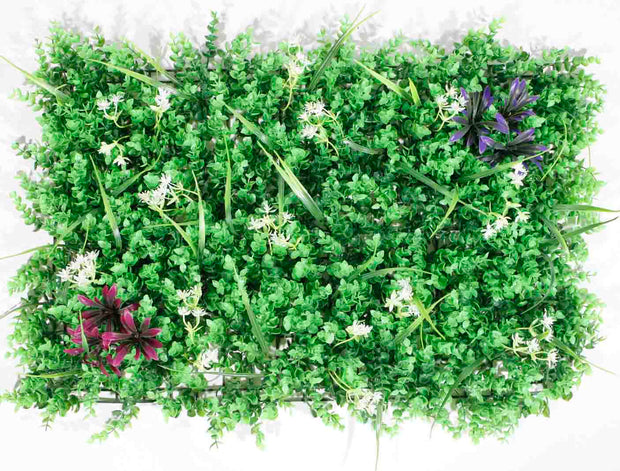 Greenery Wall - Box Hedge, Grass Shoots & Purple, Pink, White Flowers