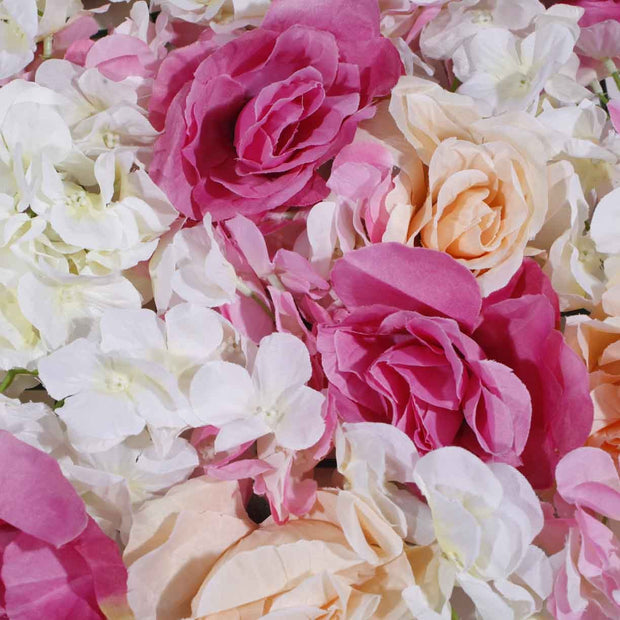 Flower Wall - Rose & Hydrangea (Pink, White, Peach) Close Up