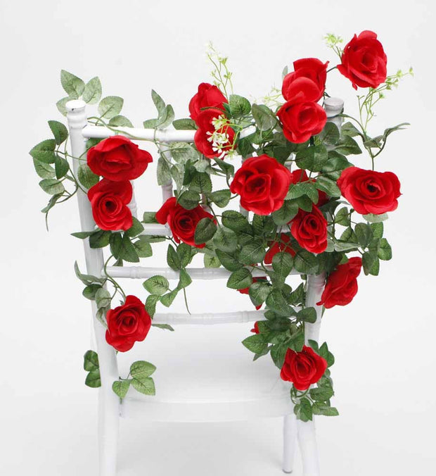 Artificial Red Rose Bouquet on Tiffany Chair Back