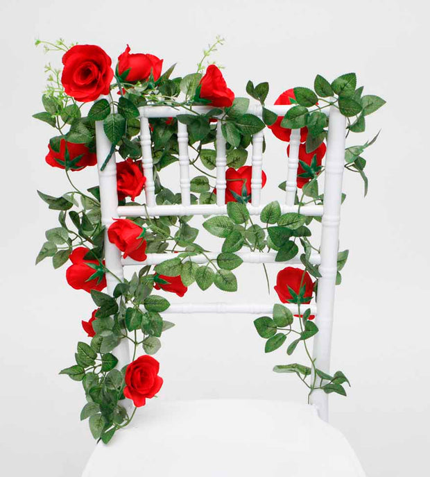 Artificial Red Rose Bouquet on Tiffany Chair