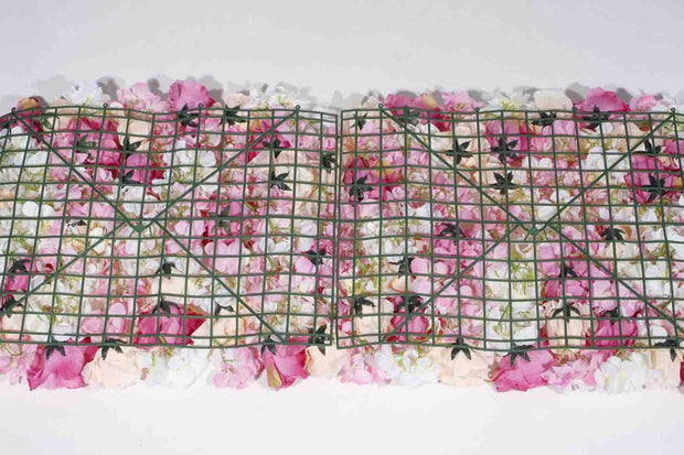 Flower Wall - Rose & Hydrangea (Pink, White, Peach) Backing Assembled
