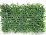 Greenery Wall - Box Hedge, Grass Shoots & Purple, Pink, White Flowers Backing