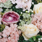 PREMIUM Flower Wall - Peony, Rose, Hydrangea & Box Hedge (Blush Pink, Peach, Cream, Green) Close Up 1
