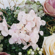 PREMIUM Flower Wall - Peony, Rose, Hydrangea & Box Hedge (Blush Pink, Peach, Cream, Green) Close Up 2