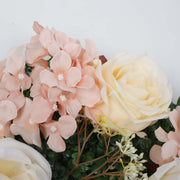 PREMIUM Flower Wall - Peony, Rose, Hydrangea & Box Hedge (Blush Pink, Peach, Cream, Green) Close Up 3