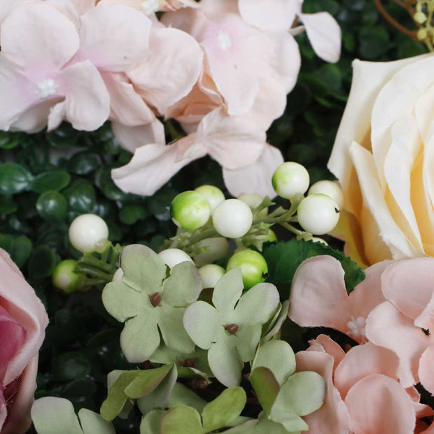 PREMIUM Flower Wall - Peony, Rose, Hydrangea & Box Hedge (Blush Pink, Peach, Cream, Green) Close Up 4