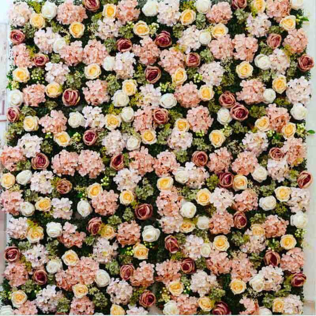 PREMIUM Flower Wall - Peony, Rose, Hydrangea & Box Hedge (Blush Pink, Peach, Cream, Green) Assembled Panels