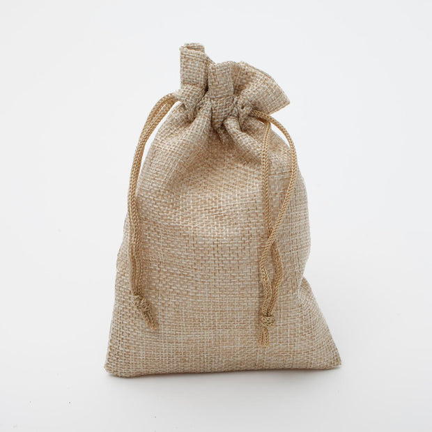 Faux Hessian Favour Bag - Beige - 10x14cm