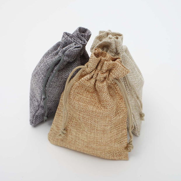 Faux Hessian Favour Bag - Hessian Colour - 10x14cm All Colours