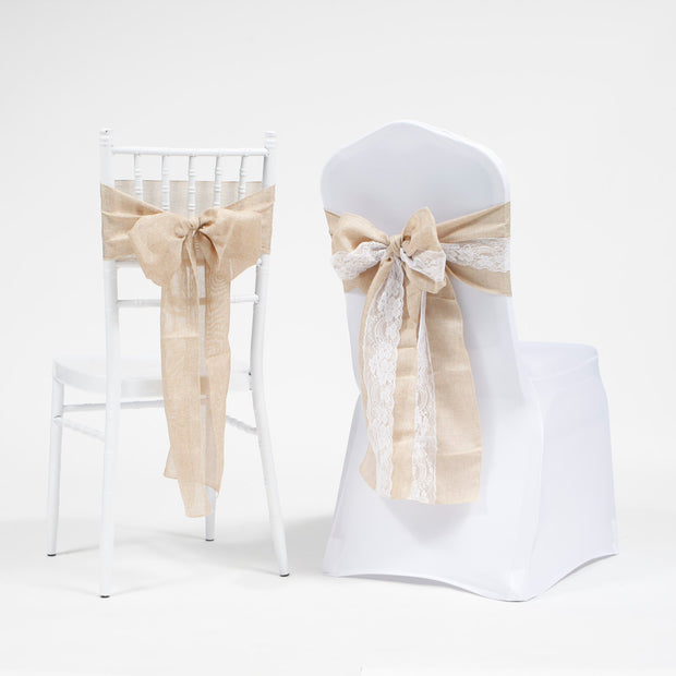 Hessian chair sash with lace on tiffany chair