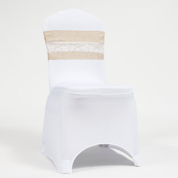 Hessian chair sash  with lace on white lycra banquet chair cover