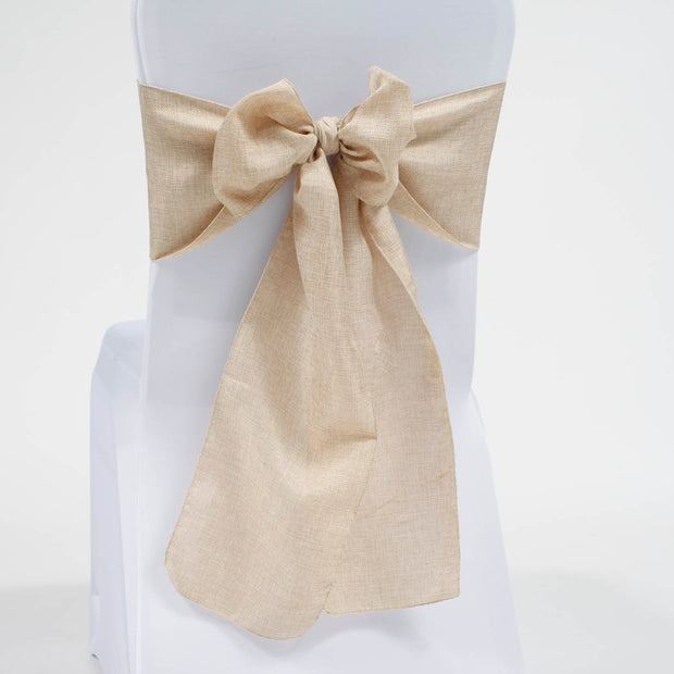 Hessian chair sash on white lycra banquet chair cover