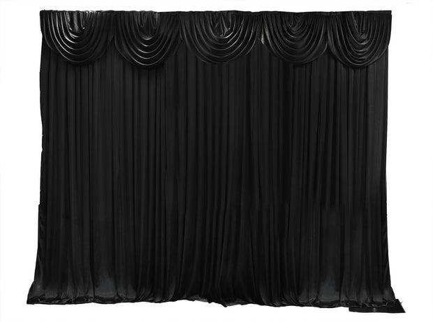 Black Ice Silk Satin Backdrops - 6 meters length x 3 meters high