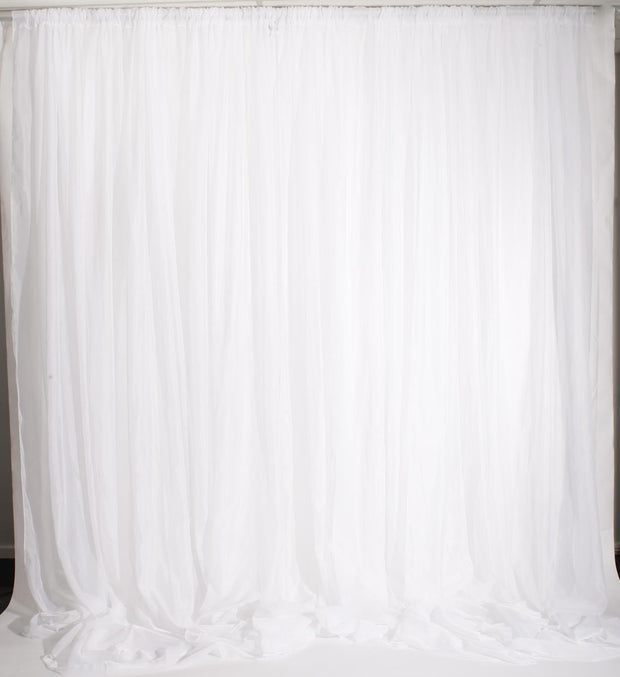 White Chiffon Backdrop Curtain 3mx3m with Centre Split and Ties. With Ties Removed