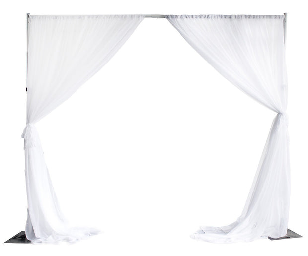 White Chiffon Backdrop Curtain 3mx3m with Centre Split and Ties