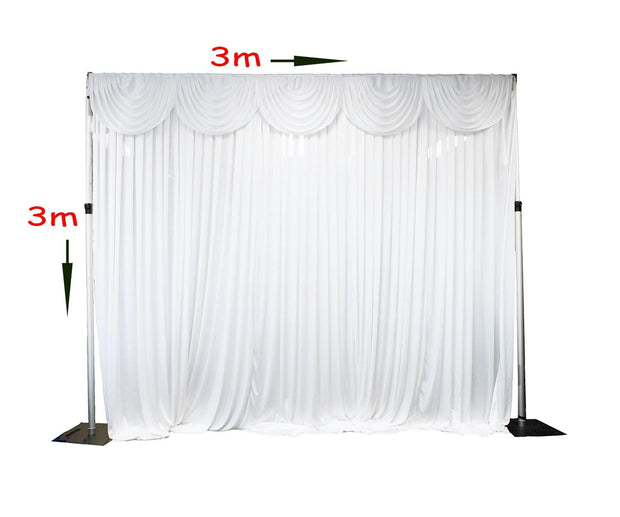 White Ice Silk Satin Backdrops - 3 meters length x 3 meters high Dimensions