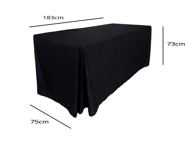Black Fitted Tablecloth (6ft) Dimensions