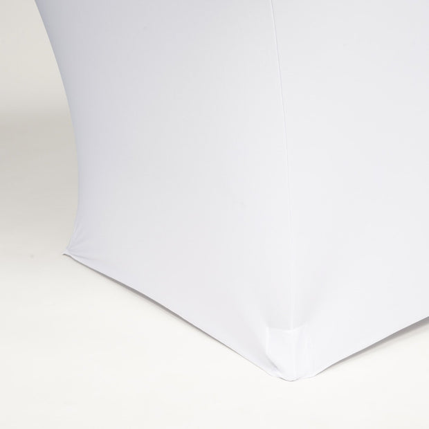 White Lycra Fitted Tablecloth (6ft) Front Edging