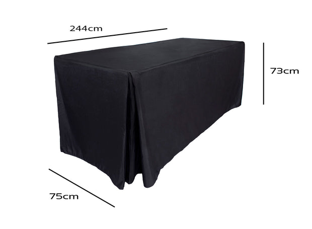 Black Fitted Tablecloth (8ft) Dimensions