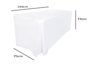 White Fitted Tablecloth (8ft) Dimensions
