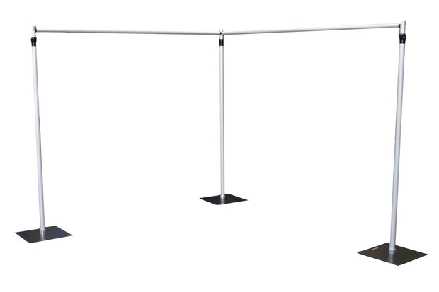 Backdrop Stand Corner Shape using 3 uprights and 2 crossbars