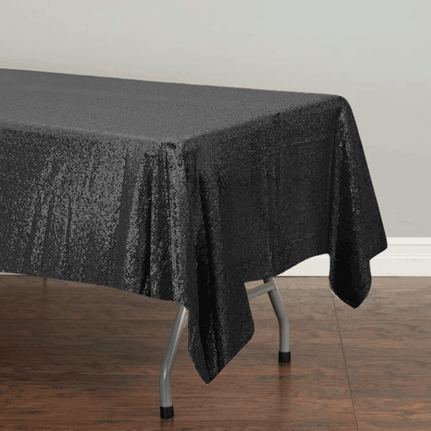 Black Sequin Tablecloth 125x240cm