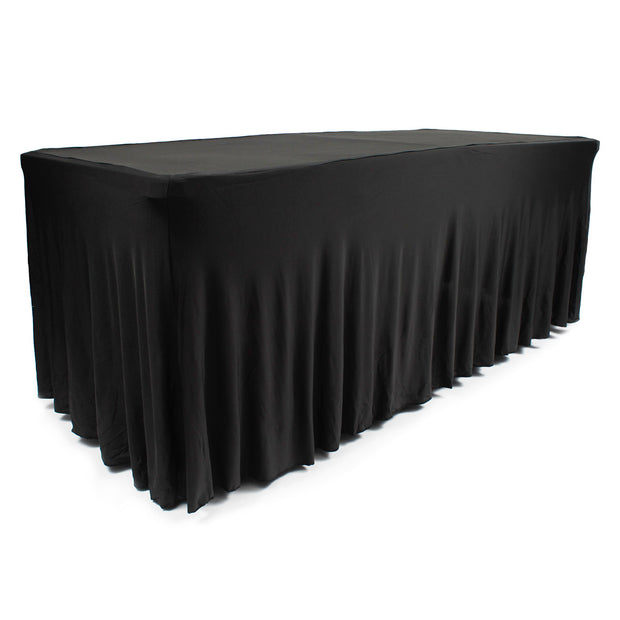 Black Lycra Fitted Tablecloth with Skirting for 6ft Trestle Tables