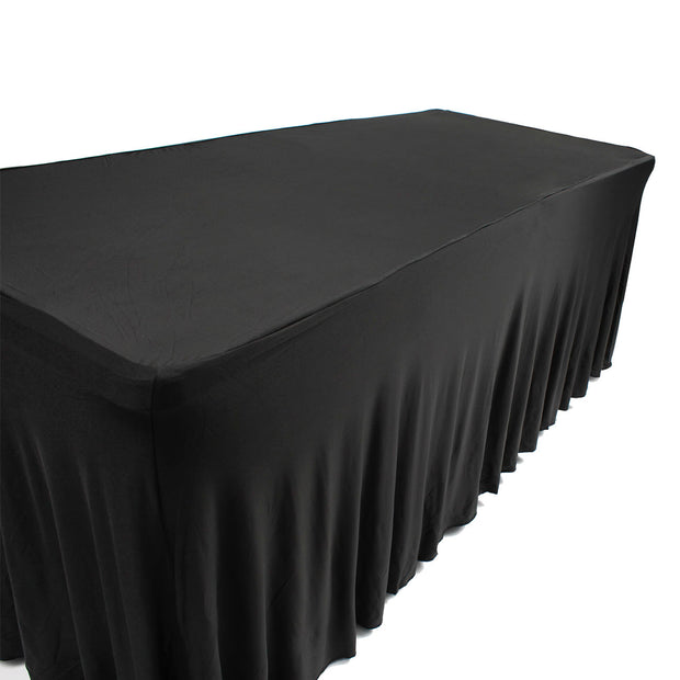 Black Lycra Fitted Tablecloth with Skirting for 6ft Trestle Tables Side