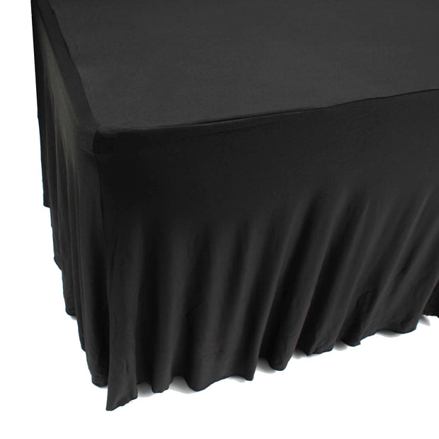 Black Lycra Fitted Tablecloth with Skirting for 6ft Trestle Tables Back