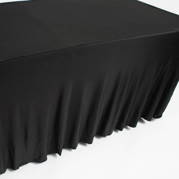 Black Lycra Fitted Tablecloth with Skirting for 6ft Trestle Tables Pleats