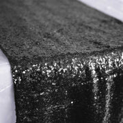 Sequin Table Runner - Black Close Up
