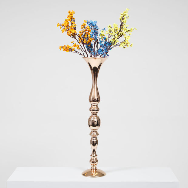 Gold Candlestick Pedestal Candelabra and Centrepiece Vase - (58cm Tall) with flowers