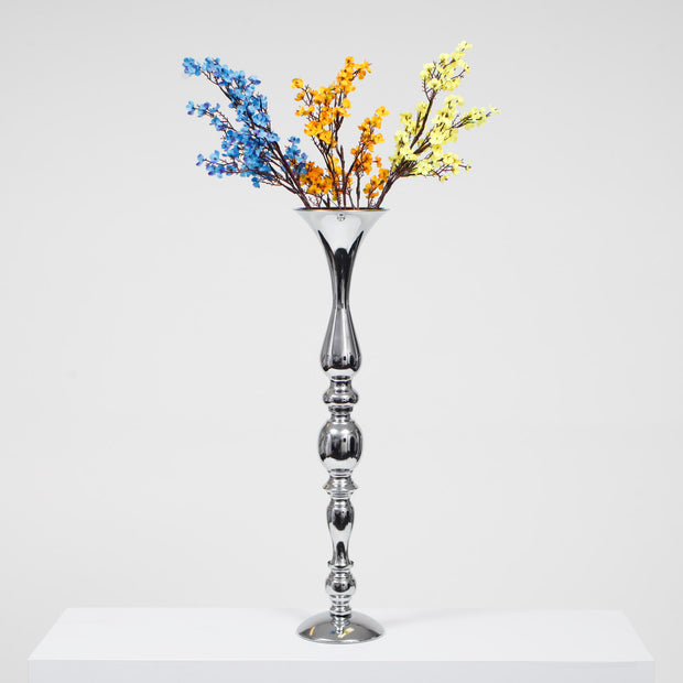 Silver Candlestick Pedestal Candelabra and Centrepiece Vase - (58cm Tall) with flowers