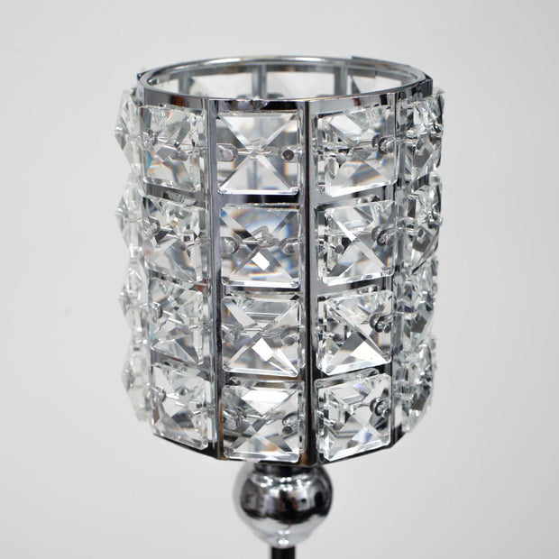 Silver Candelabra Crystal Candle Holder - 46cm Tall Close