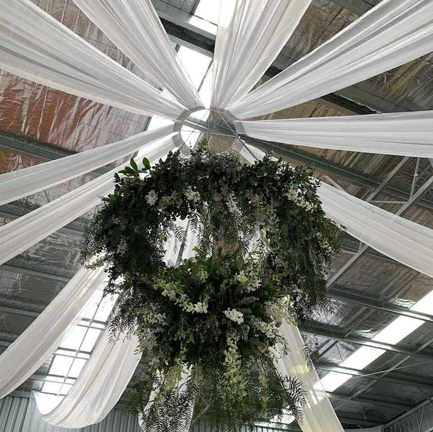 White Ceiling Drape - Ice Silk Satin (10m) Example 2