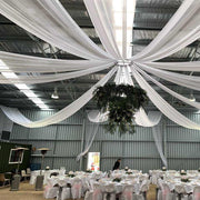 Burgundy Ceiling Drape - Ice Silk Satin (10m) Example 1