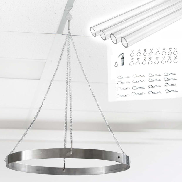 Ceiling Draping Kit with Acrylic Rods, Clips and Openable Hoop Ring