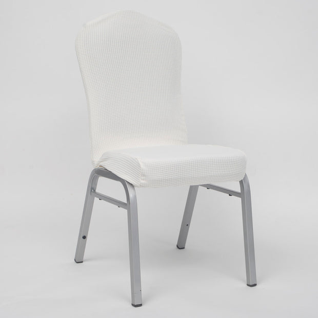 Lycra Chair Covers (Toppers) - Jacquard White
