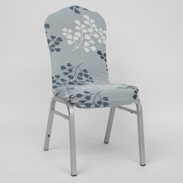Lycra Chair Covers (Toppers) - Light Green With Leaf Pattern
