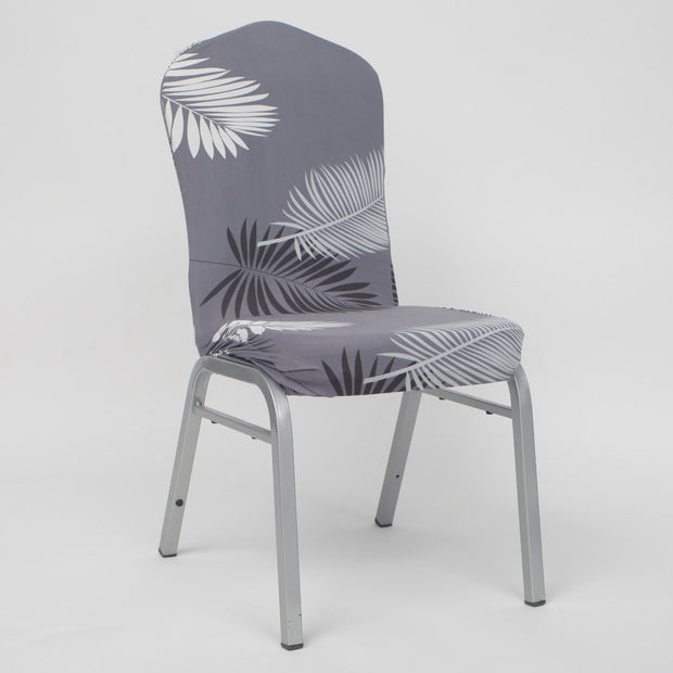 Lycra Chair Covers (Toppers) - Grey With Palm Leaf Pattern