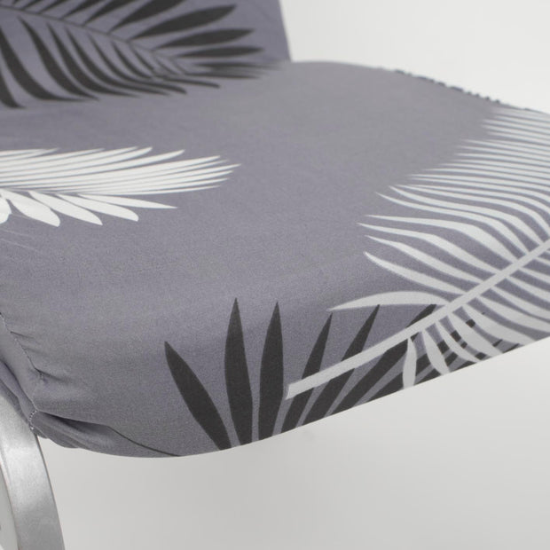 Lycra Chair Covers (Toppers) - Grey With Palm Leaf Pattern Seat