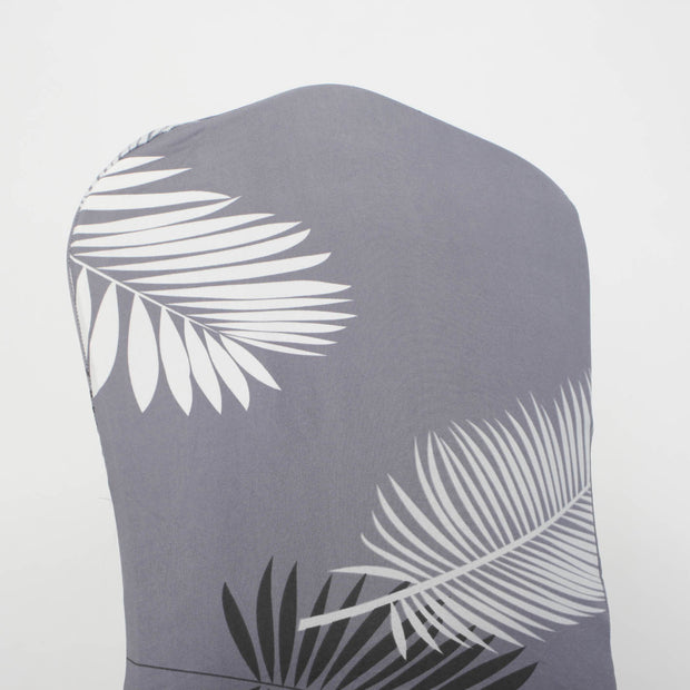 Lycra Chair Covers (Toppers) - Grey With Palm Leaf Pattern Back