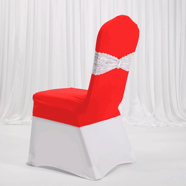Lycra Chair Covers (Toppers) - Bright Red With Lace Band