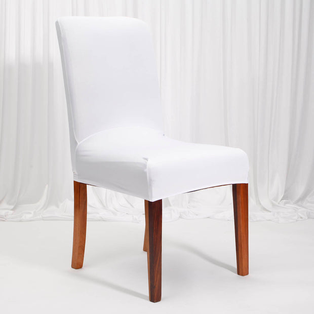 Lycra Chair Covers (Toppers) - White On Dining Chair