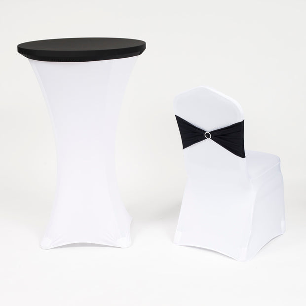 Cocktail Table Covers - Black (70cm Toppers) with chair cover