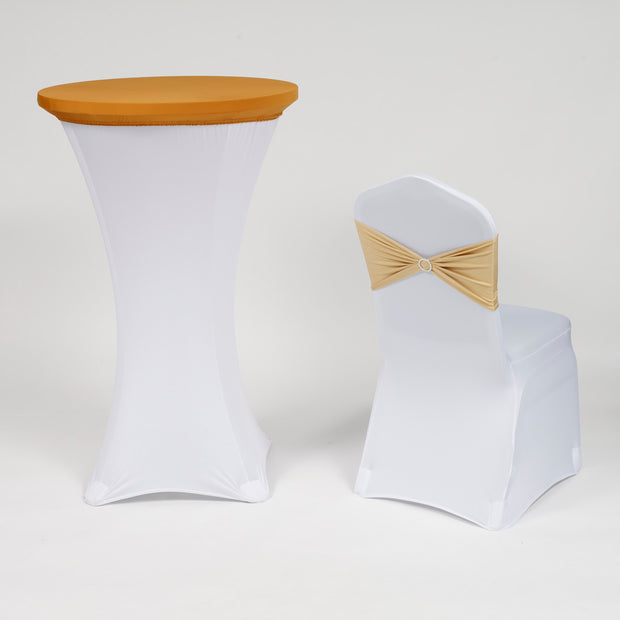 Gold Spandex Cocktail Table Cover with Champagne Gold and White Chair Cover