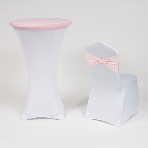 Light Pink and White Spandex Cocktail Table and Chair Covers