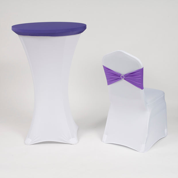 Purple and White Spandex Cocktail Table Cover with Chair Cover and Band